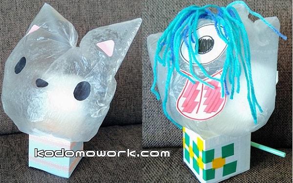 ビニール袋工作びっくり箱の手作りおもちゃ