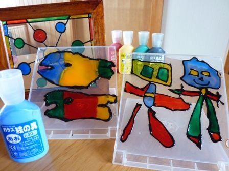 ガラス絵の具工作でステンドグラス風作品