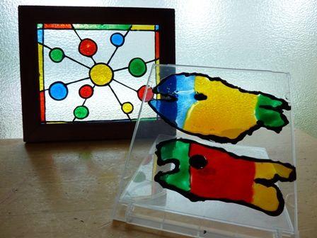 ガラス絵の具工作でステンドグラス風工作