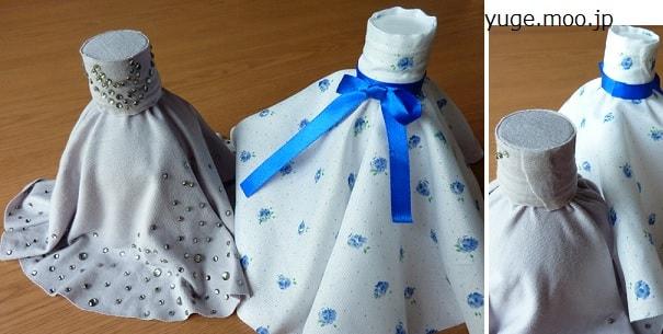 フレアスカートのペットボトルドレス貯金箱2種類