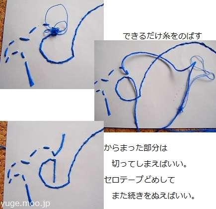 刺繍糸の処理