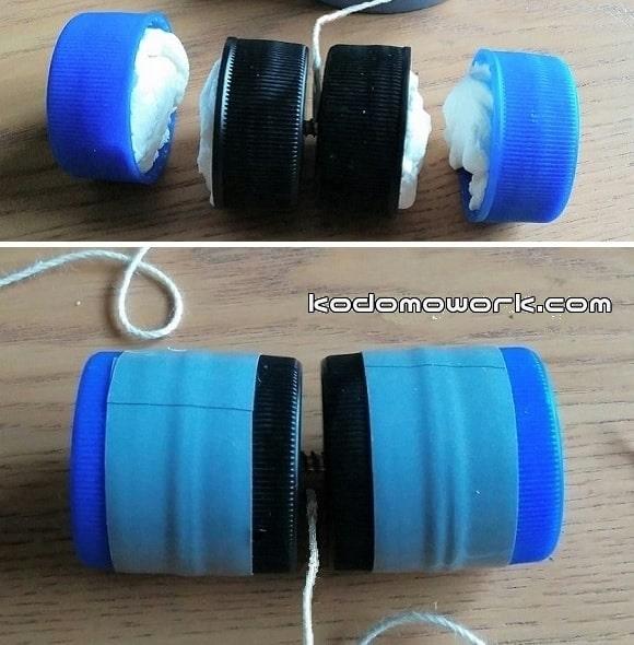 ペットボトルの蓋に紙粘土を入れて両サイドに蓋をつけて完成