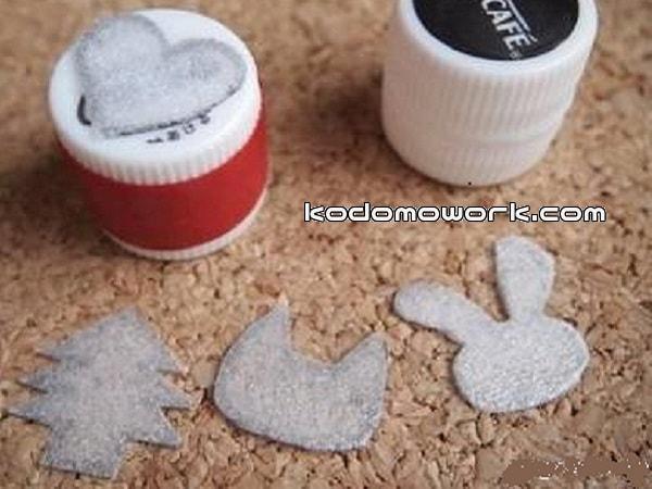 手作り簡単ハンコの持ち手はペットボトルキャップで作る