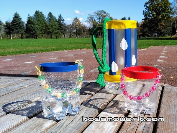 水遊び手作りおもちゃバケツ3つ