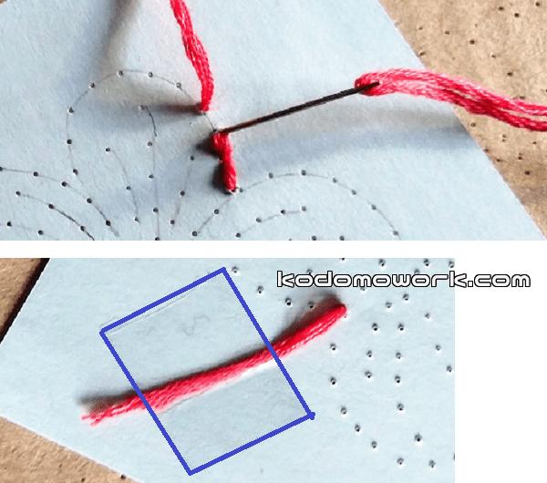 紙刺繍図案通りに刺繍していく