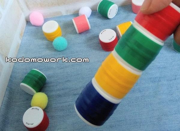 赤ちゃんおもちゃ磁石積み木完成