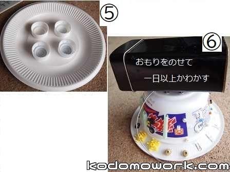 カップ麺と紙皿でUFOの形にする