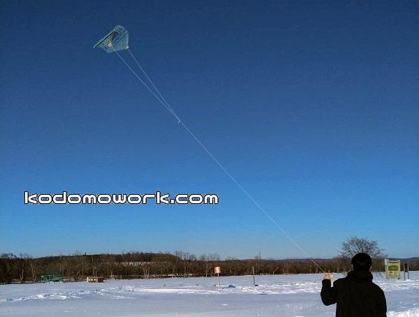 手作り凧で凧揚げ